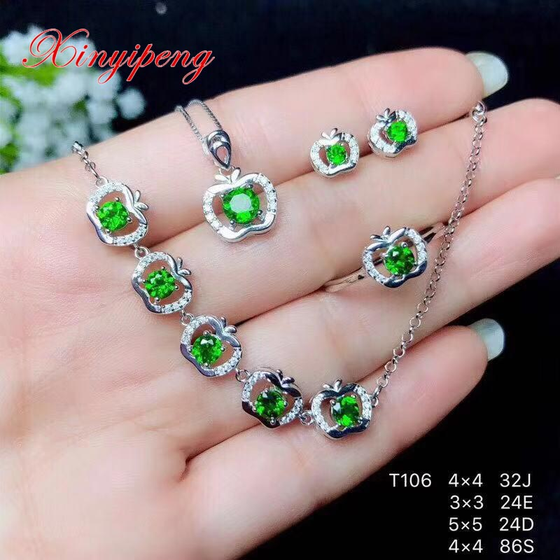 Xin yi peng 925 silver plated gold inlaid natural diopside stud earrings ring pendant necklace women jewelry set fineXin yi peng 925 silver plated gold inlaid natural diopside stud earrings ring pendant necklace women jewelry set fine