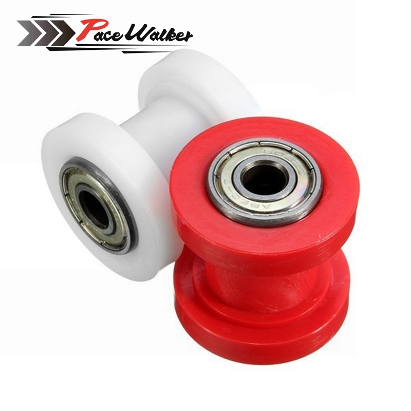 Motorcycle Motorbike 8mm Red Chain Roller Tensioner Pulley Wheel Guide 125 XR CRF 50 KLX110 Thumpstar Pit Pro Pit Dirt Bike