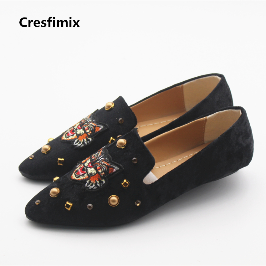 Cresfimix women cute spring and summer flat shoes with metal decoration lady slip on black shoes female casual office flats cresfimix women casual breathable soft shoes female cute spring