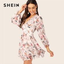 SHEIN Surplice Neck Ruffle Trim Floral Boho Dress Women Backless Bishop Sleeve Mini Dress High Waist Chiffon Spring Summer Dress