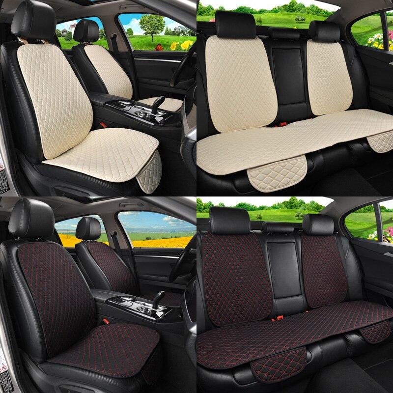 5 sièges housse de siège de voiture en lin protecteur avec dossier avant arrière siège arrière taille de coussin lavable tapis pour Auto - 2