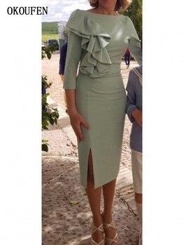 Mutter Der Braut Bräutigam Kleider für Hochzeit 2019 Spitze Langarm V-ausschnitt Royal Blue Satin Backless vestido de madrinha farsali