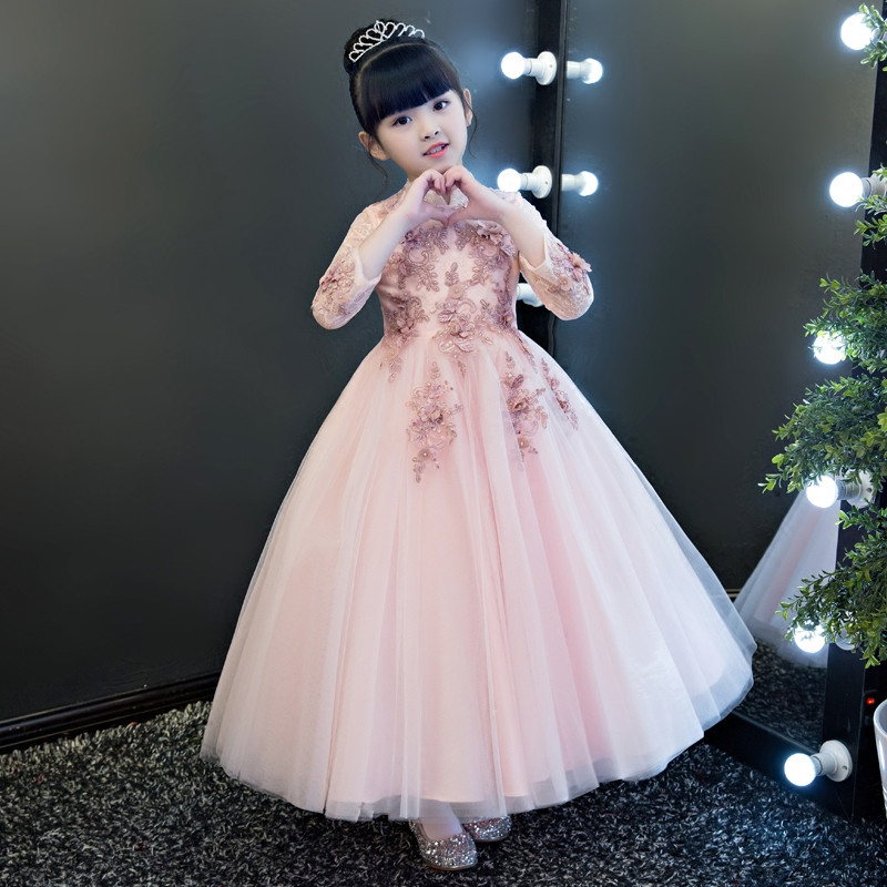 Baby Girl Cosplay Costume Birthday Wedding Ball Gown DressRed-Wine Pink Color Girls Children Christmas Party Long Lace Dresses long curly green synthetic lace front cosplay party wig