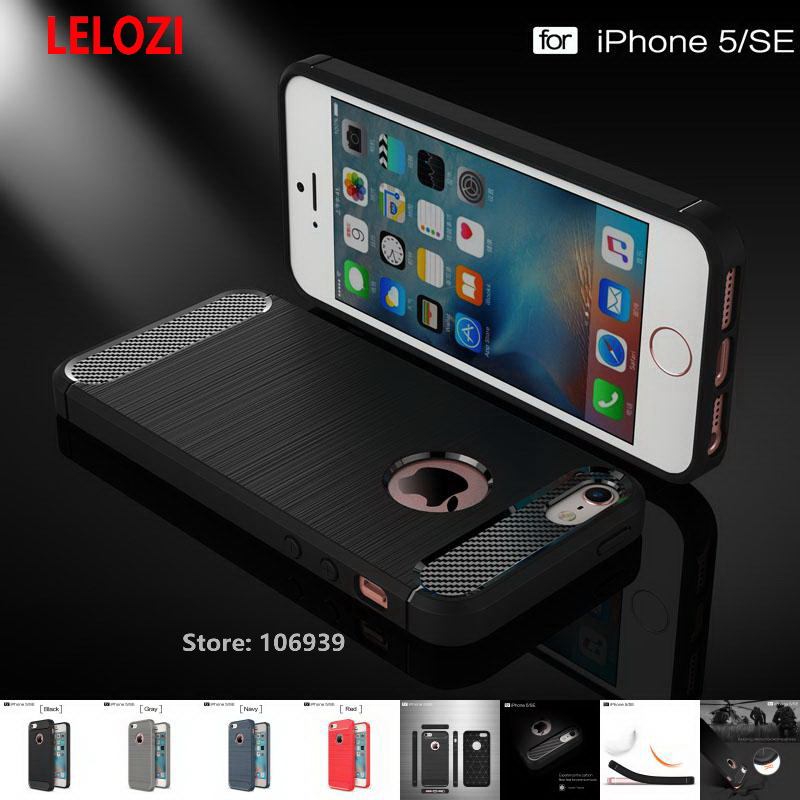 LELOZI Soft TPU Armor Rugged Carbon Fiber Brushed Men Phone Coque Etui Case For iPhone 5 5s SE Navy Cool Cheap Best Gray Red