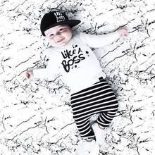 Новинка года, модные комплекты одежды для маленьких мальчиков белая хлопковая футболка с длинными рукавами и штаны Одежда для маленьких мальчиков комплект из 2 предметов для малышей, как у босса