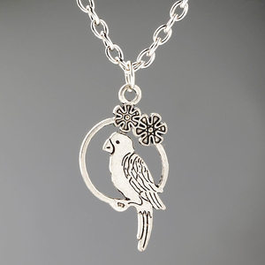 Parrot Pendant Necklace For Women Vintage Silver Charms Choker Collar Handmade Necklace Chain Jewelry Christmas gifts