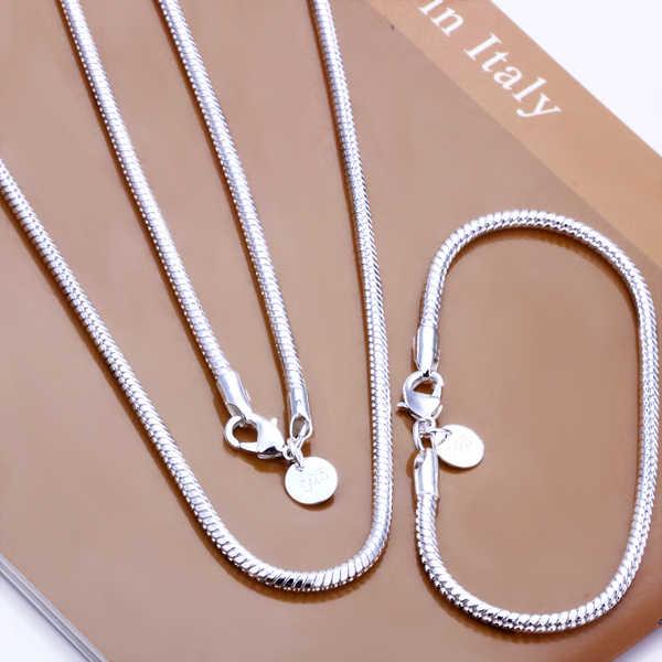 Bijoux pour hommes 925 estampillé argent plaqué 3mm 20 ''collier 8'' bracelet ensembles serpent chaînes cadeau boîte sac livraison gratuite