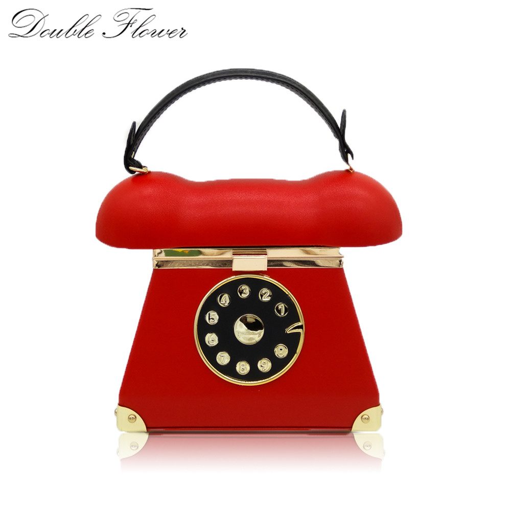 Vintage Telephone Red PU Women Fashion Metal Hard Handbags Evening Party Dinner Totes Clutch Bag Ladies