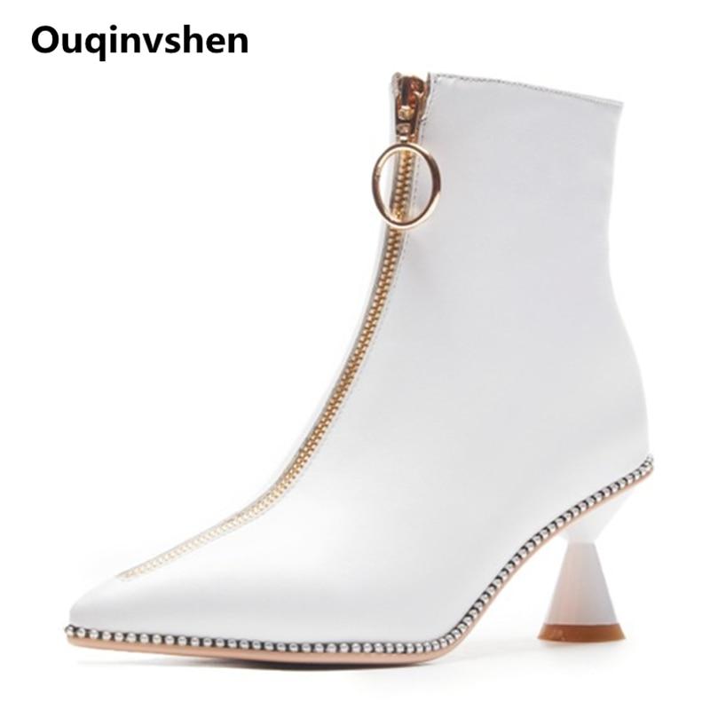 Ouqinvshen Rivet White High Heels Boots Women Pointed Toe Zipper Plus Size 43 Winter Shoes Women