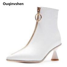 Ouqinvshen Rivet White High Heels Boots Women Pointed Toe Zipper Plus Size 43 Winter Shoes Women Strange Style Ankle Boots Women