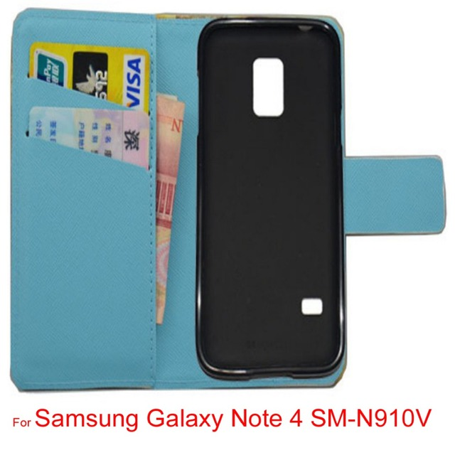 """For 5.7"""" Samsung Galaxy Note 4 SM-N910V lovely Cartoon pu leather wattet cell phone cover Case with free gifts mini stylus"""
