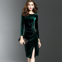 New Women Spring O Neck dress Long Sleeves Velvet Dress Office Slim Fit Sheath Sexy Solid Vestidos Knee Length Dress Bodycon