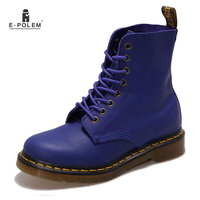 2016 New Brand Autumn Winter Women Genuine Leather Ankle Boots Pure Color Blue Martin Boots Man