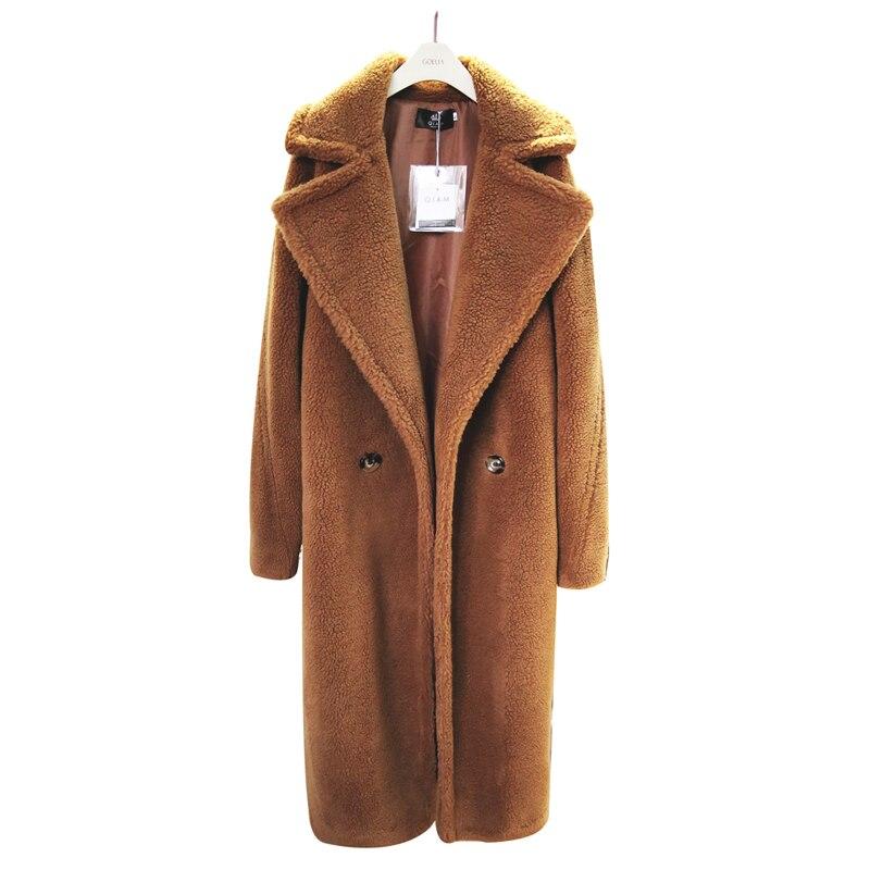 2019 Hiver Femmes Épais chaud En Peluche Manteau Femme High Street Surdimensionné Teddy Vestes Et Manteaux Dames Agneau manteau de laine Faux De Fourrure manteau