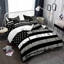 Black American Flag Bedding Set Classic Stars Stripes Duvet Cover Patriot Independence Day Bedroom Decor Pillowcase