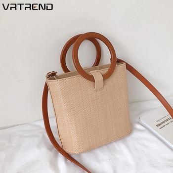 VRTREND Rattan Bag Women Summer Straw Bag Fashion European and American Beach Bag Qoven Solid wood Wild Shoulder Messenger Bag