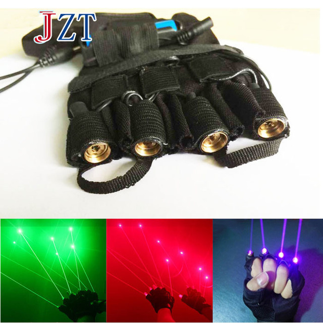 Chiristmas Green/Red/Purple Laser Gloves 4 pcs Laser 532nm 80mw Stage Laser Show Props LED Dance DJ Club Gloves Right/Left Hand