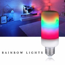 E27 Dynamic Flame Effect Colorful Bulb 5W 7W 9W 85-265V 2835 3 Modes LED Flame Lamp Raninbow Light E14 E26 E12 B22 Flame Light