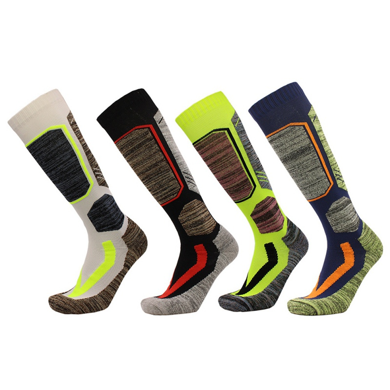 New Men Women Long Skiing Sports Sock Breathable Towel Bottom Thicken Climbing Camping Hiking Sport Socks 4 Colors