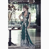 Dark Green Muslim Mermaid Long Sleeves Evening Dresses For Women Wear Lace Beading Morocco Caftan Dubai Kaftan Formal Gowns 2019
