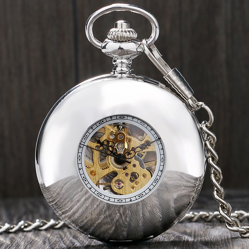 Fashion Cool Silver Smooth Hollow Case With Roman Number Skeleton Steampunk Dial Mechanical Pocket Watch Gift To Men Women full hunter smooth cooper pocket watch skeleton roman numbers dial mechanical automatic fob hour antique gift for men women