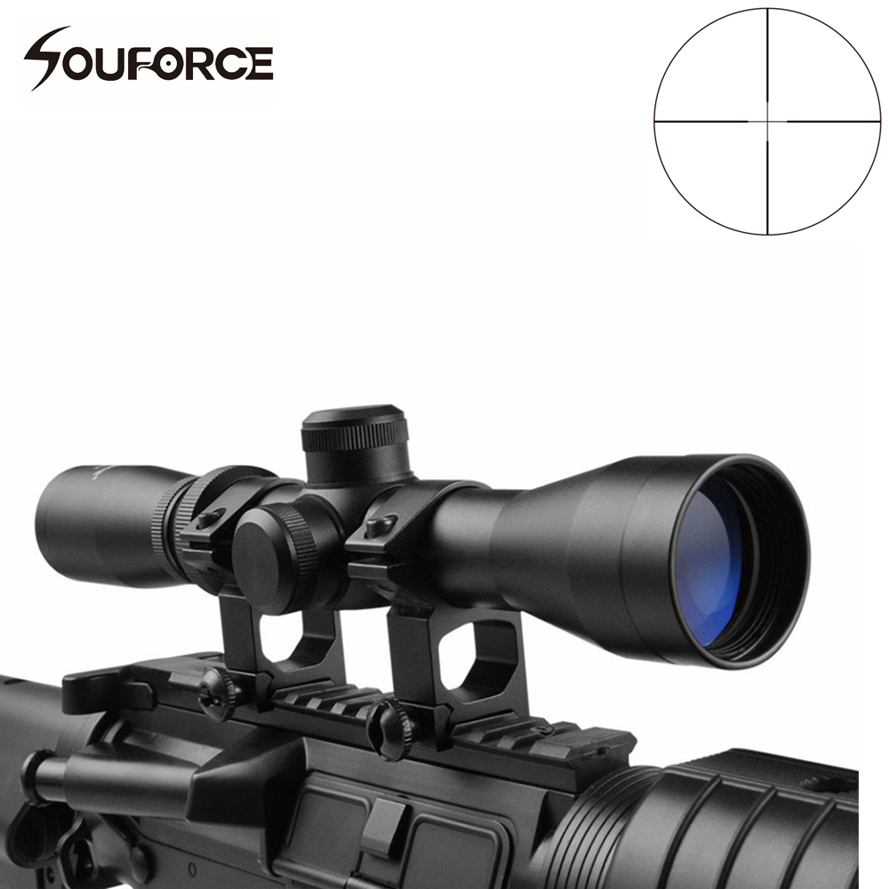 Hunting 2-7x32 Optical Riflescope Long Eye Relief Scope with High Profile 20mm Mount Rings of Hunting Airsoft Gun Accessories