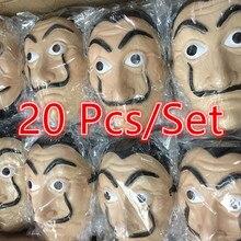 20 Pcs Movie La Casa De Papel Maskers Salvador Dali Cosplay Masker Geld Het Huis Van Papier Gezicht Halloween Party masker Gratis Handschoenen