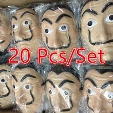 20 Pcs Movie La Casa De Papel Masks Salvador Dali Cosplay Mask Money The House of Paper Face Halloween Party Mask Free Gloves