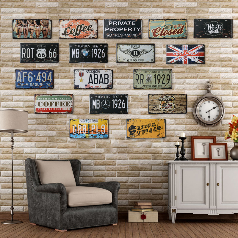buy vintage metal painting retro personality finishing american license plate. Black Bedroom Furniture Sets. Home Design Ideas