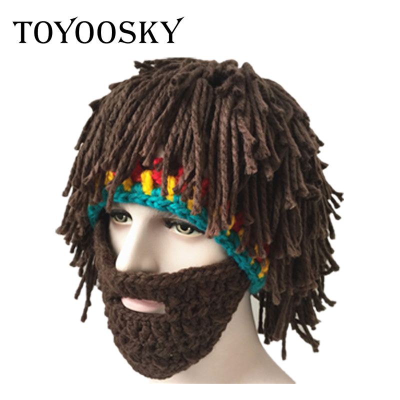 TOYOOSKY New Good Quality Funny Brown Crazy Beard Wig Hats