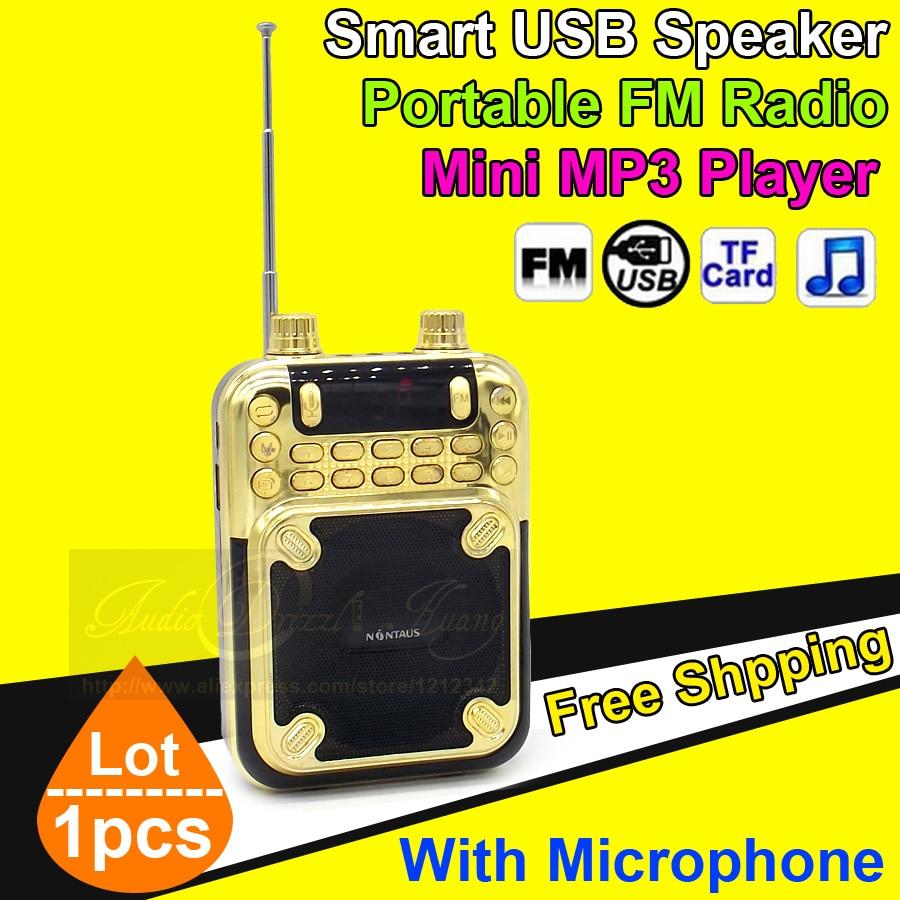 Portable Mini Speakers Wireless FM Radio Loudspeaker With Microphone TF AUX Amplifier Megaphone USB Speaker Sound