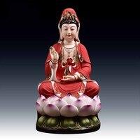 Avalokiteshvara Bodhisattva Buddha statue ceramic ornaments painted Phnom Penh red Choi Lin lotus Avalokitesvara