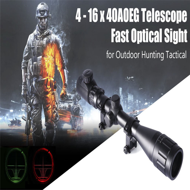 Riflescope 4 16 x 40 Rifle Scope Outdoor Reticle Sight Optics Tactical Hunting Scopes 20 mm