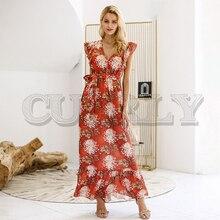 CUERLY V neck ruffle boho summer dress women Hollow out sash tie up long 2019 Sleeveless beach maxi casual vestidos