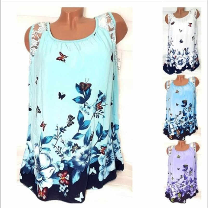 5XL Plus Size Women T Shirt 2019 Summer Beach Sexy Tops Casual Sleeveless Lace Patchwork Butterfly Print T Shirt Women Loose Top