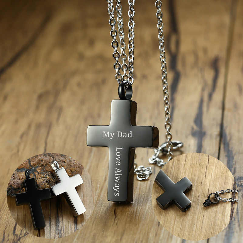 Free Engraving Men's Black Blessed Cross Ash Urn Pendant Necklace Stainless Steel Cremation Jewelry and Keepsakes 24 inch