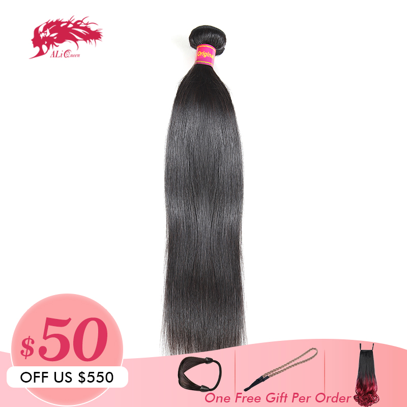 Ali Queen Hair 10A Brazilian Virgin Hair Straight Bundles Natural Black Color 100 Human Hair Weaving