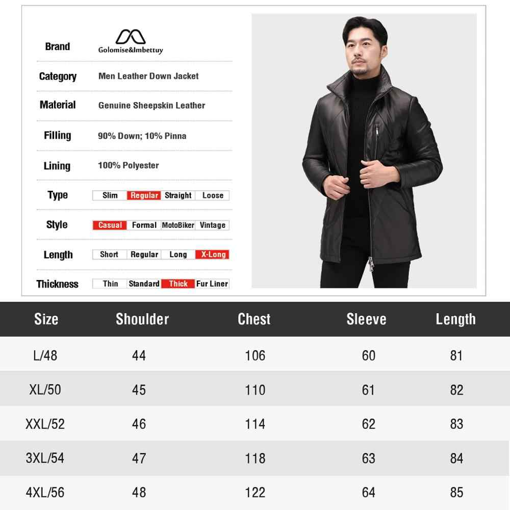 Golomise & imbetutuy мужской натуральный/Натуральная Овчина кожаный пуховик/пальто повседневный кожаный пуховик/пальто