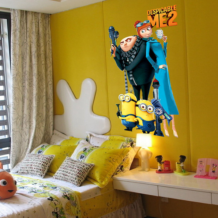 Aliexpress Com Buy Despicable Me 2 Minions Wall Stickers For Kids Rooms Decor 33 60cm Removable Cute Minion Sticker Decal Diy Bedroom Decoration From