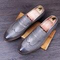 Hombres Brogue Zapatos de cuero Genuino estilo Británico Pisos Punta estrecha zapatos de Los Holgazanes de Negocio Oxfords Ocasionales Respirables Masculinos 022