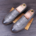 Men Brogue Shoes Genuine leather British style Flats Pointed Toe Male Oxfords Breathable Casual Business shoes Loafers 022