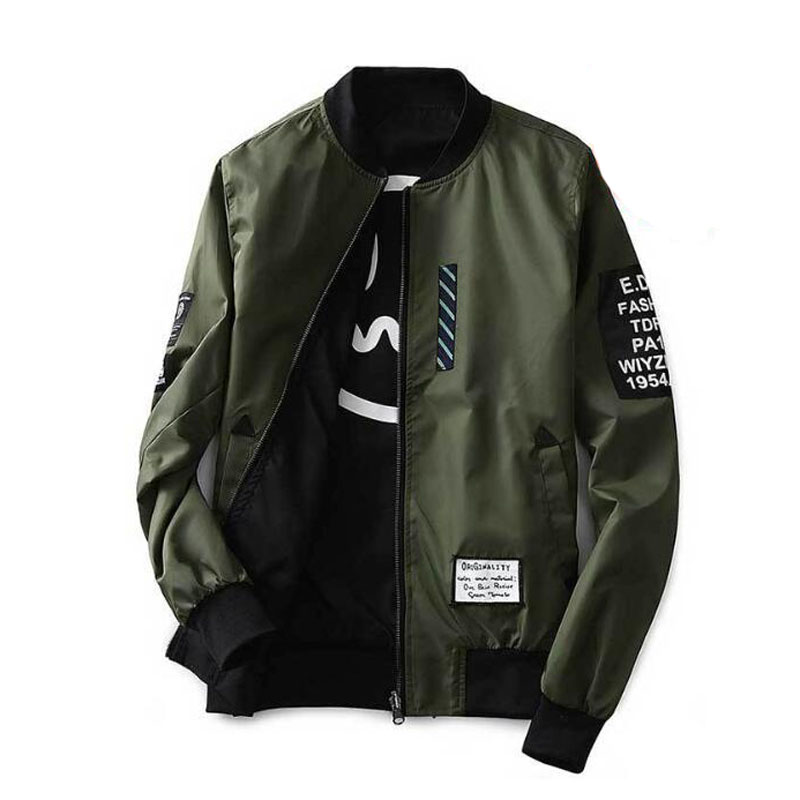 Bomber Jacket Men Pilot With Patches Green Both Side Wear Thin Pilot Bomber Jacket Men Wind Breaker Jacket Men