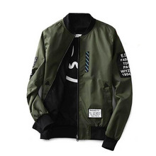 Bomber Jacket Men Pilot with Patches Green Both Side Wear Thin Pilot Bomber
