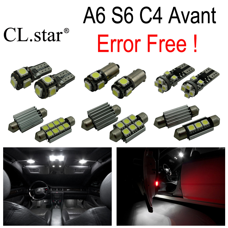 19pcs canbus error free LED bulb interior dome light kit package for Audi A6 S6 C4 Avant Wagon (1994-1997) 15pc x 100% canbus led lamp interior map dome reading light kit package for audi a4 s4 b8 saloon sedan only 2009 2015