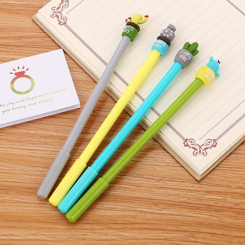 100 PCs Creative Stationery Cactus Neutral Pen Cute Cartoon Student Needle Water Pen Office Supplies Signature Kawaii Pen