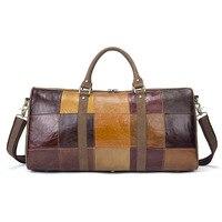 Luxury Brand designer Natural Genuine Leather Men's Travel bags Large Capacity Full Grain Leather Patchwork luggage Bag Handbag