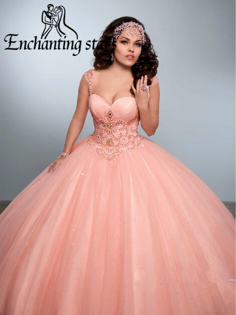 2017 Rhinestones Crystals Quinceanera Dresses Masquerade Ball Gowns Cap Sleeves Dress 15 Years Lace-Up Backless Girls Party Gown - Molibridal_ Store store