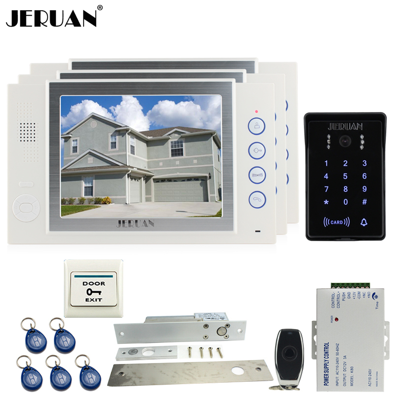 JERUAN 8 inch LCD video doorphone Recording intercom system kit New RFID waterproof Touch Key password keypad Camera 8G SD Card rfid keyboard ip65 waterproof video doorphone intercom system for 3 apartments with 7 color lcd video intercom system in stock