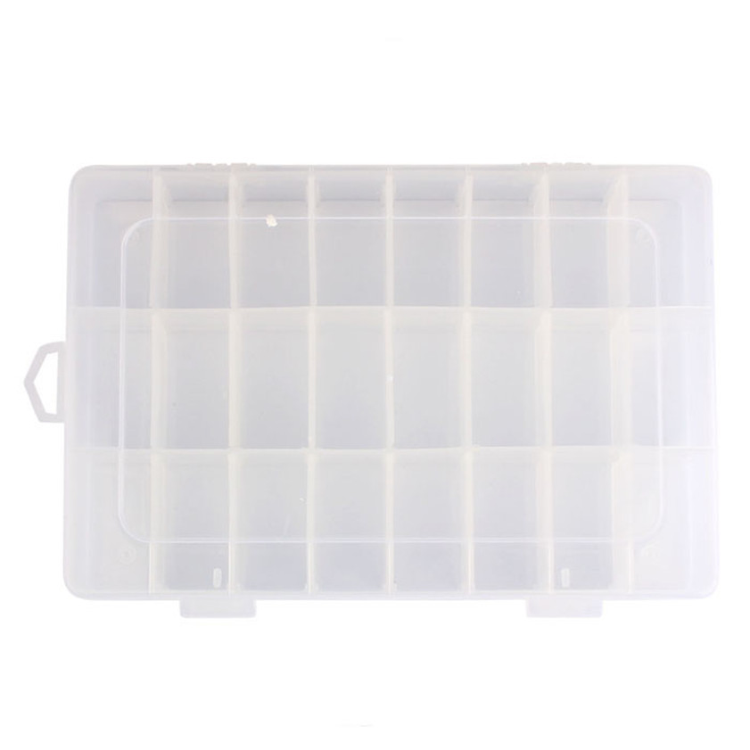 Lovely High Quality Adjustable 24 Compartment Plastic Storage Box Jewelry Earring Case Clear 3 Colors Dropshipping