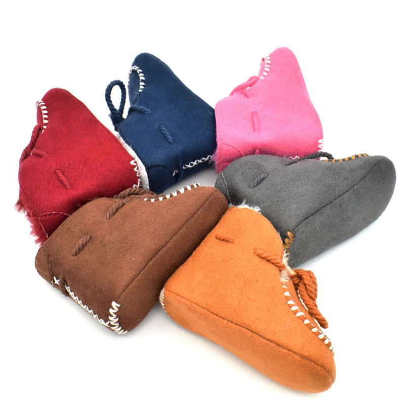 2018 Baby Shoes Casual Infants Warm Boots Kids Moccasins Plus Cotton Booties Winter Solid Color First Walkers